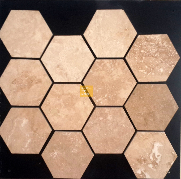 Travertine Honed Hexagon Mosaic - 10cm