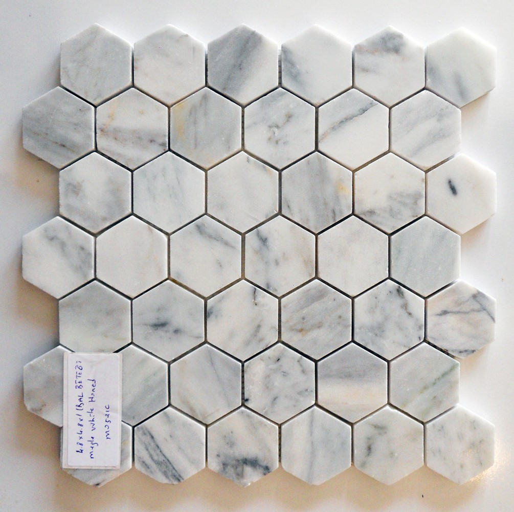 Muğla White Polished Hexagon Mosaic