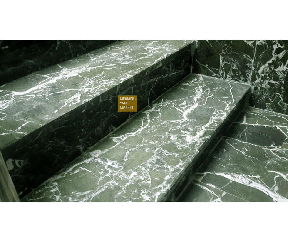 Emerald Green Marble Stair - Riser Included