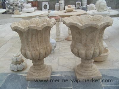 Travertine Flower Pot