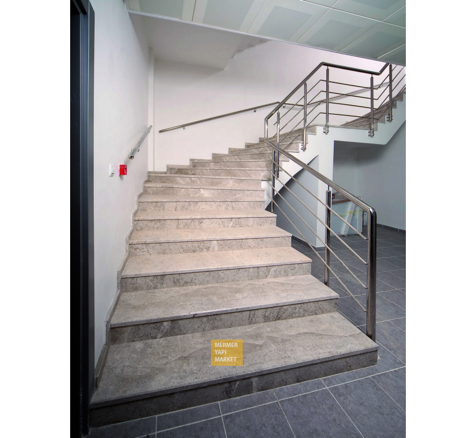 Tundra Gray Marble Stair - Riser Included