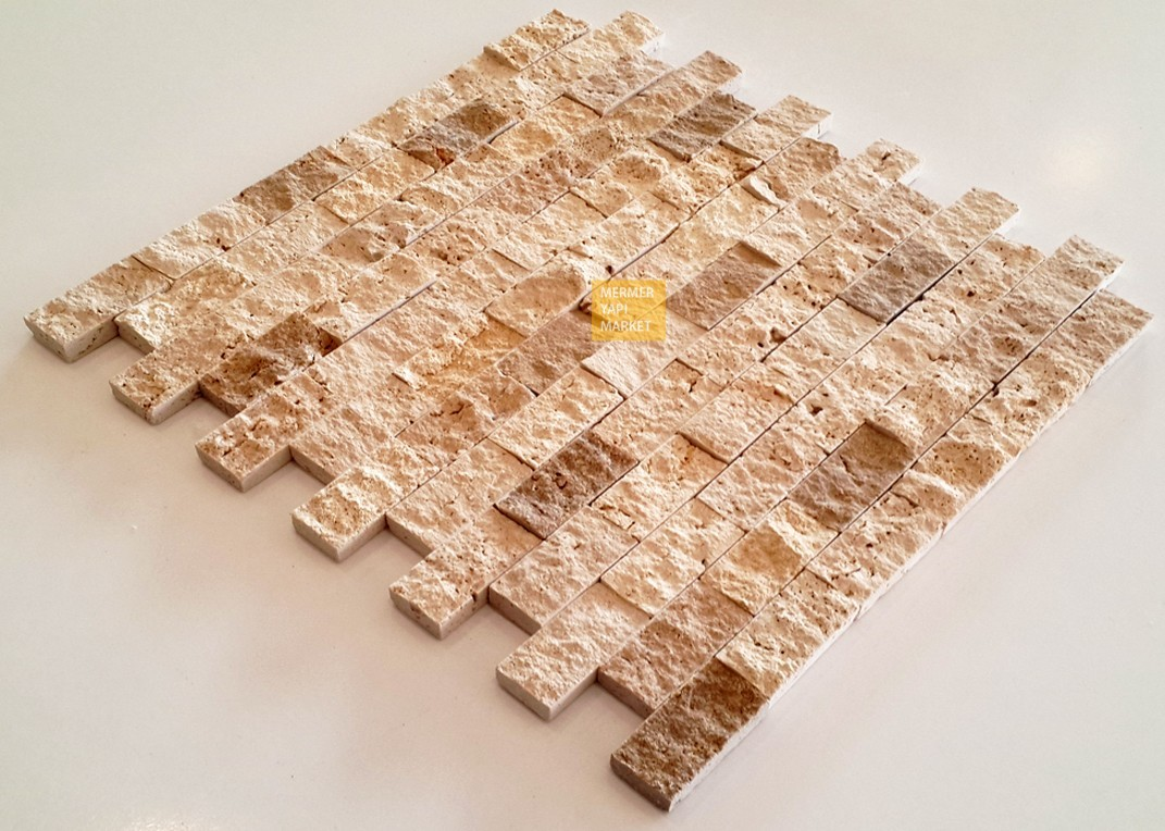 Classic Travertine Split Face Mosaic - Double Mix
