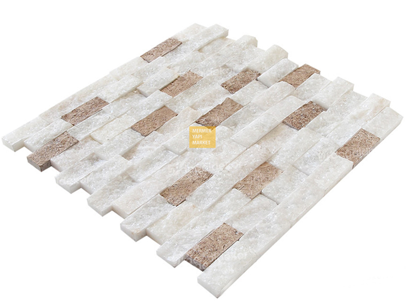 Muğla White Split Face Mosaic - Double Mix