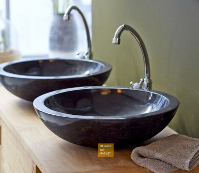 Aksehir Black Marble Wash Basin