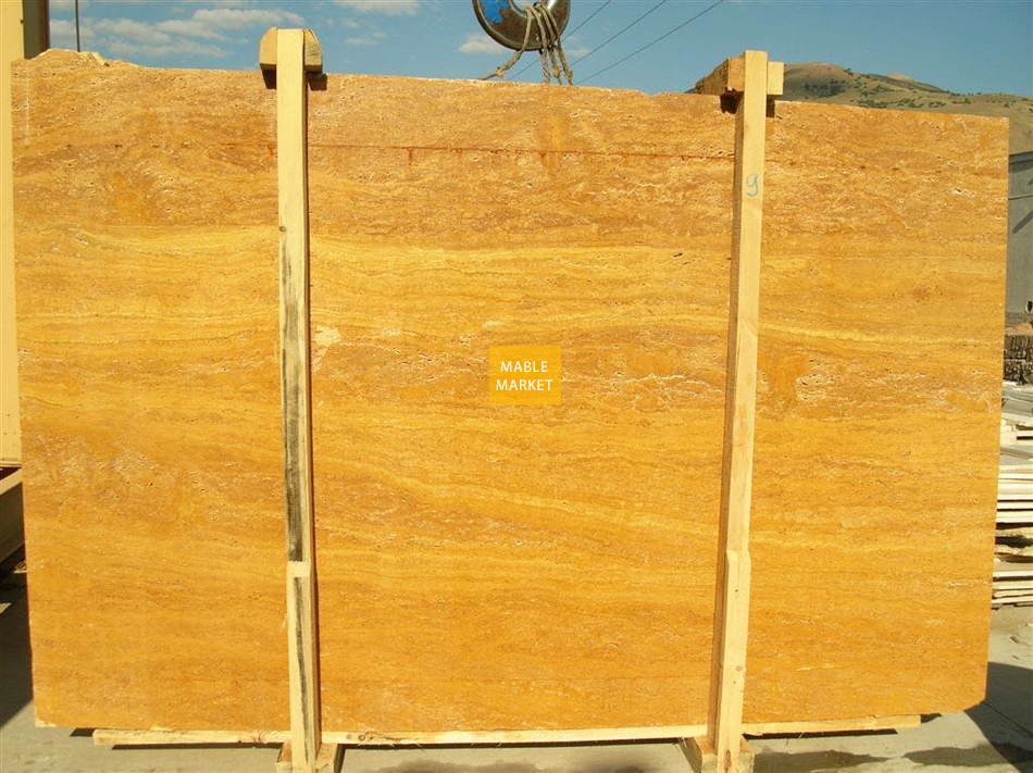 Yellow Travertine Slabs Honed - Unfilled