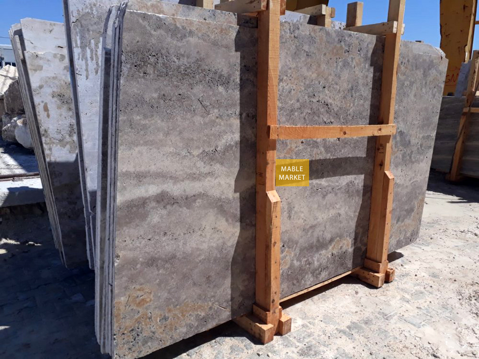 Silver Travertine Slabs Honed - Unfilled