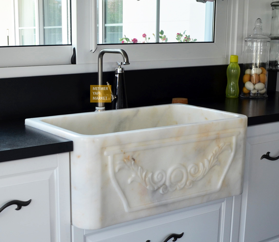 White Marble Kitchen Sink