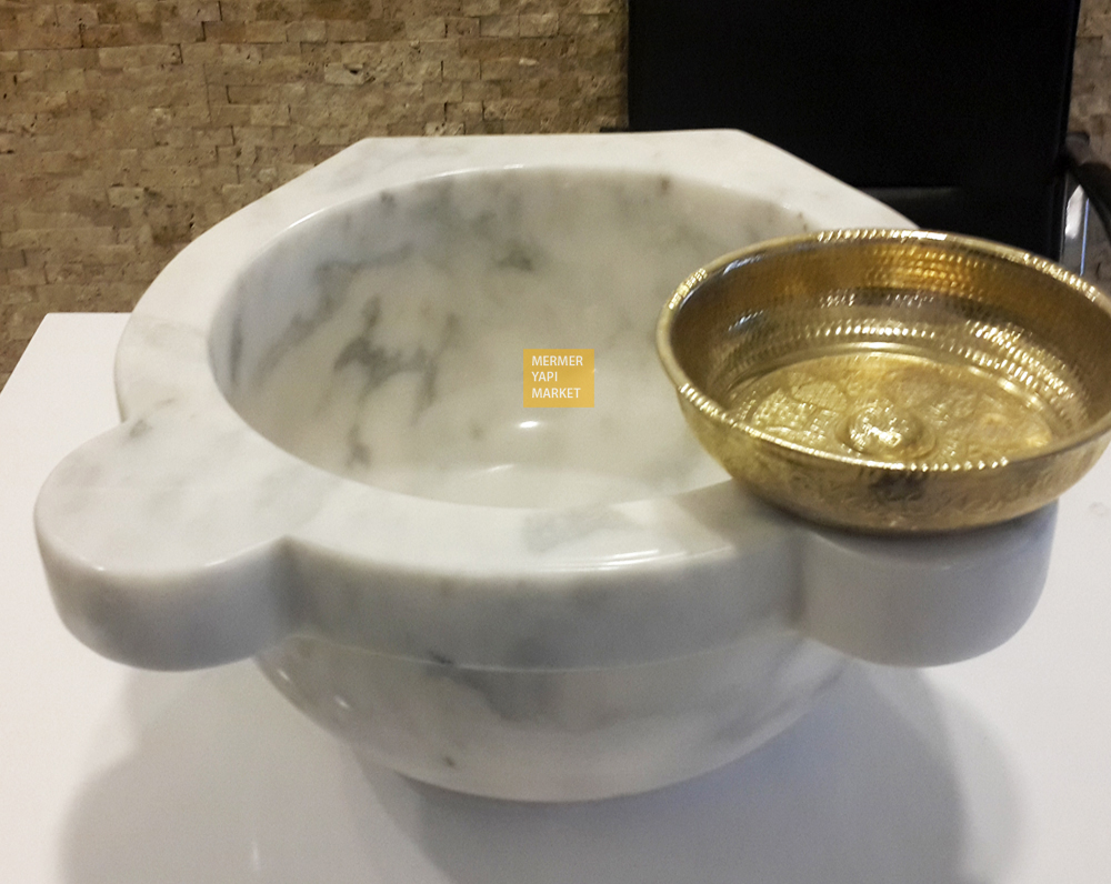 Afyon Cloudy White Hammam Sink
