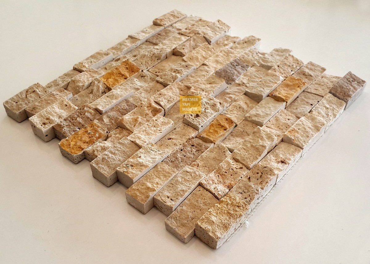 Three Dimensional Split Face Mosaic Stone - Mix