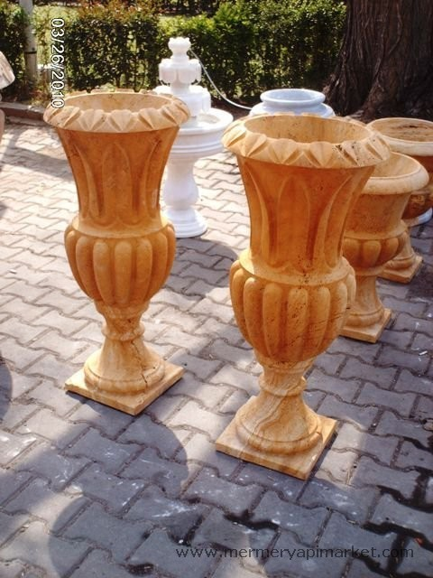 Yellow Travertine Flowerpot