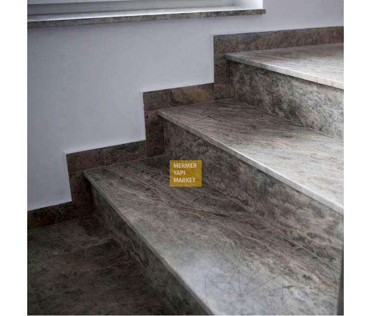 Silver Travertine Stair - Riser Included