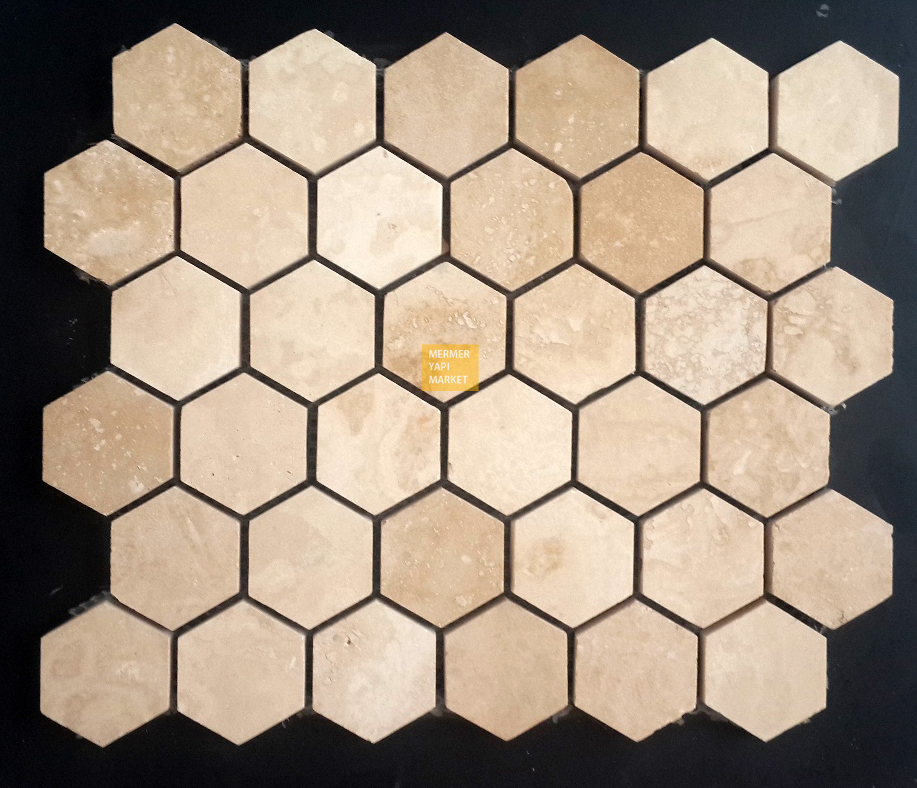 Travertine Honed Hexagon Mosaic